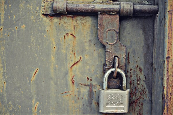 padlock on old door