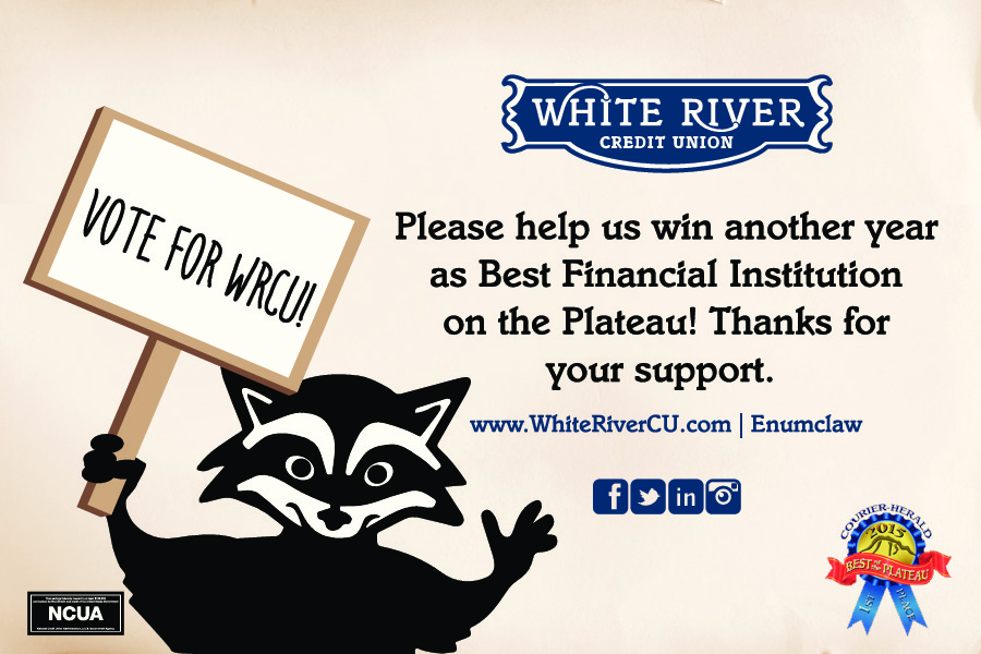 raccoon mascot holding up sign to tell you to vote for WRCU for best financial institution on the Plateau