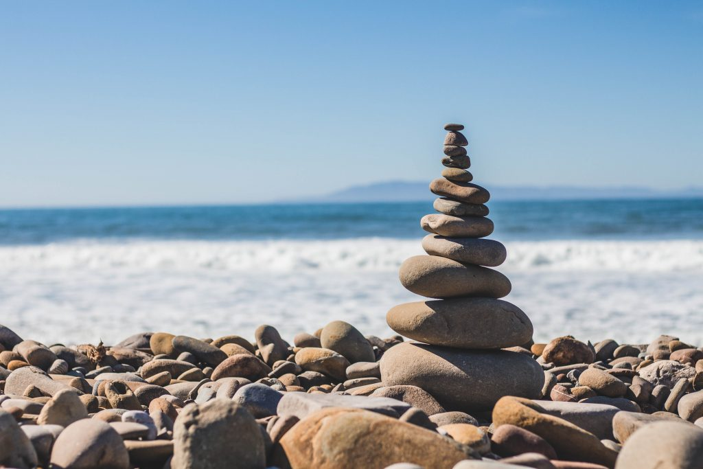stack of rocks on a beach