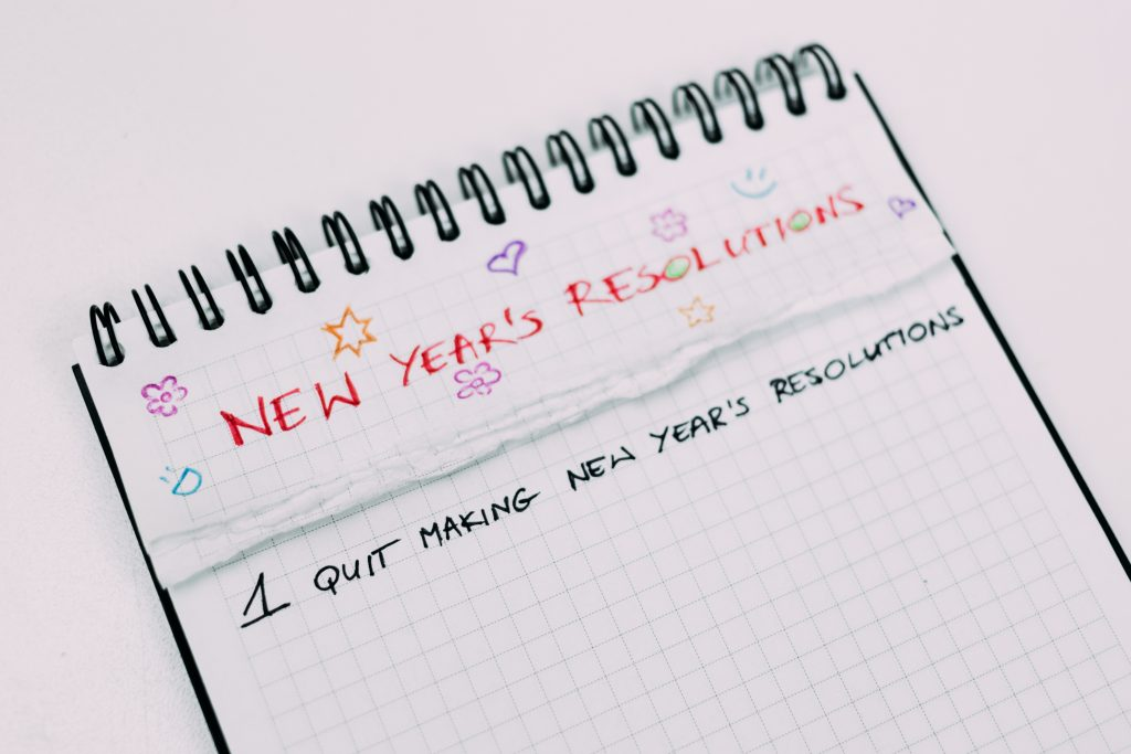notebook with New Year's Resolutions
