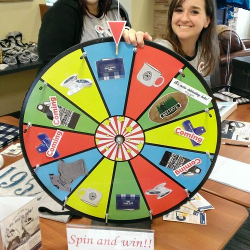 Spin and Win wheel inside WRCU