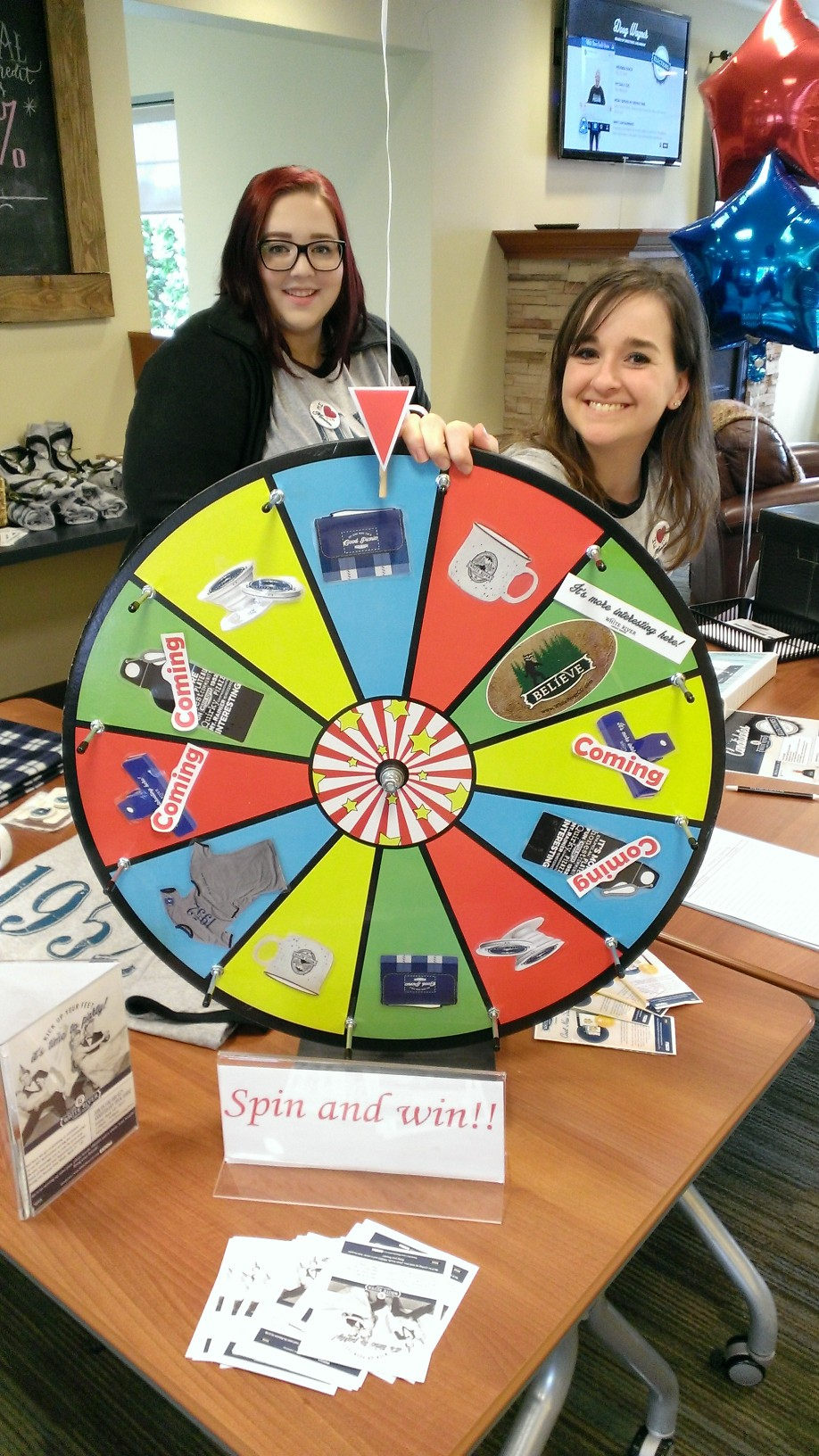 Spin and Win wheel inside WRCU