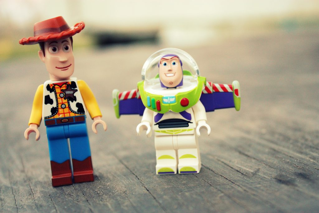 lego toys of Woody and Buzz from Toy Story