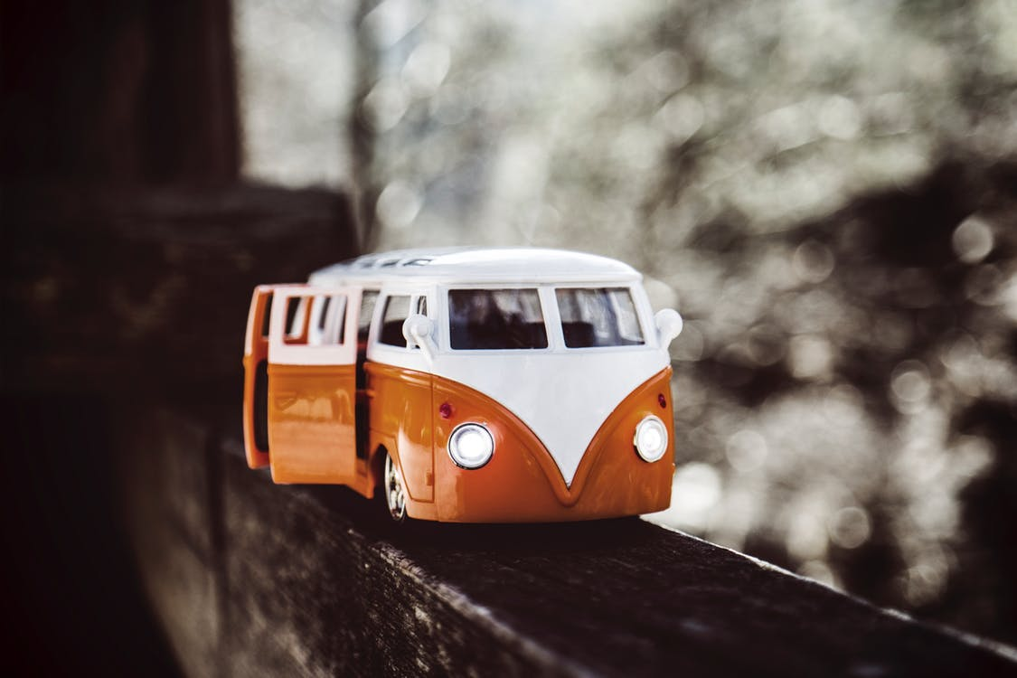 close up of a toy Volkswagon van