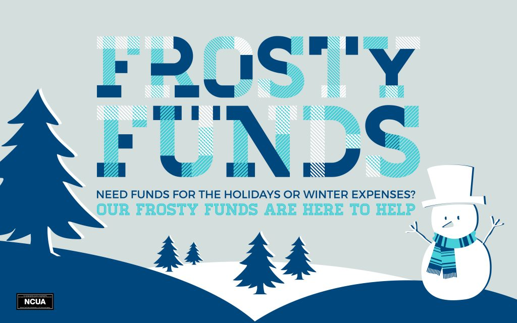 Frosty Funds banner with a snowman graphic