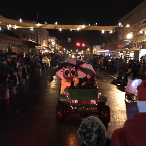 Raccoon Santa riding down the street on a ATV during a parade