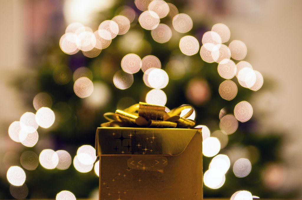 present and Christmas tree