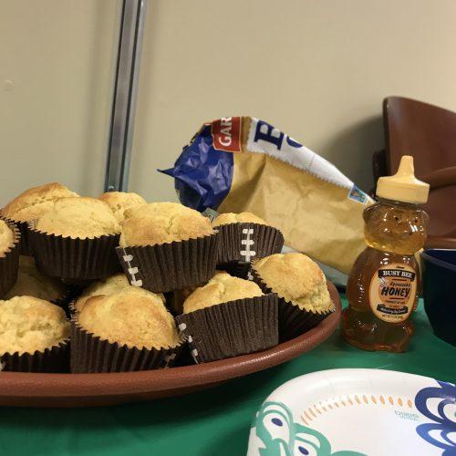 cornbread muffins and honey