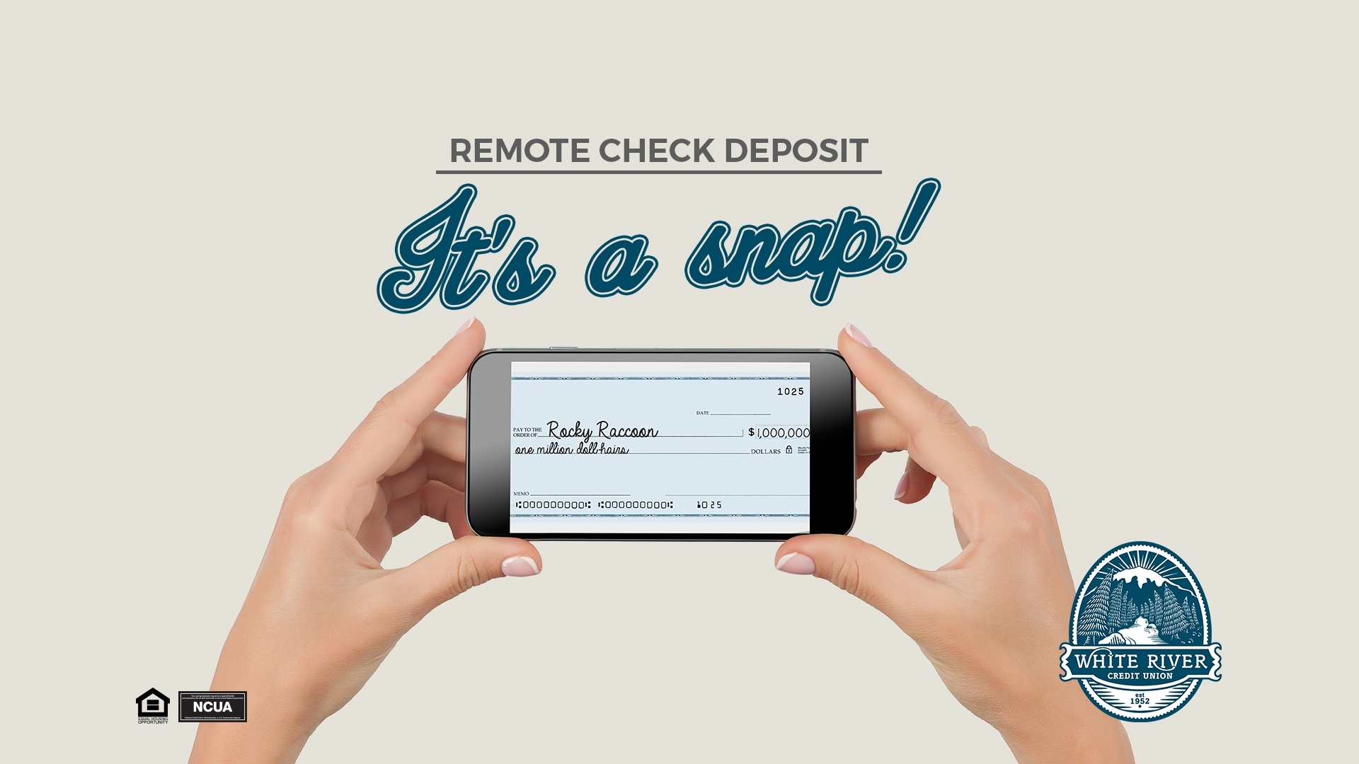 Remote check deposit It's a snap!