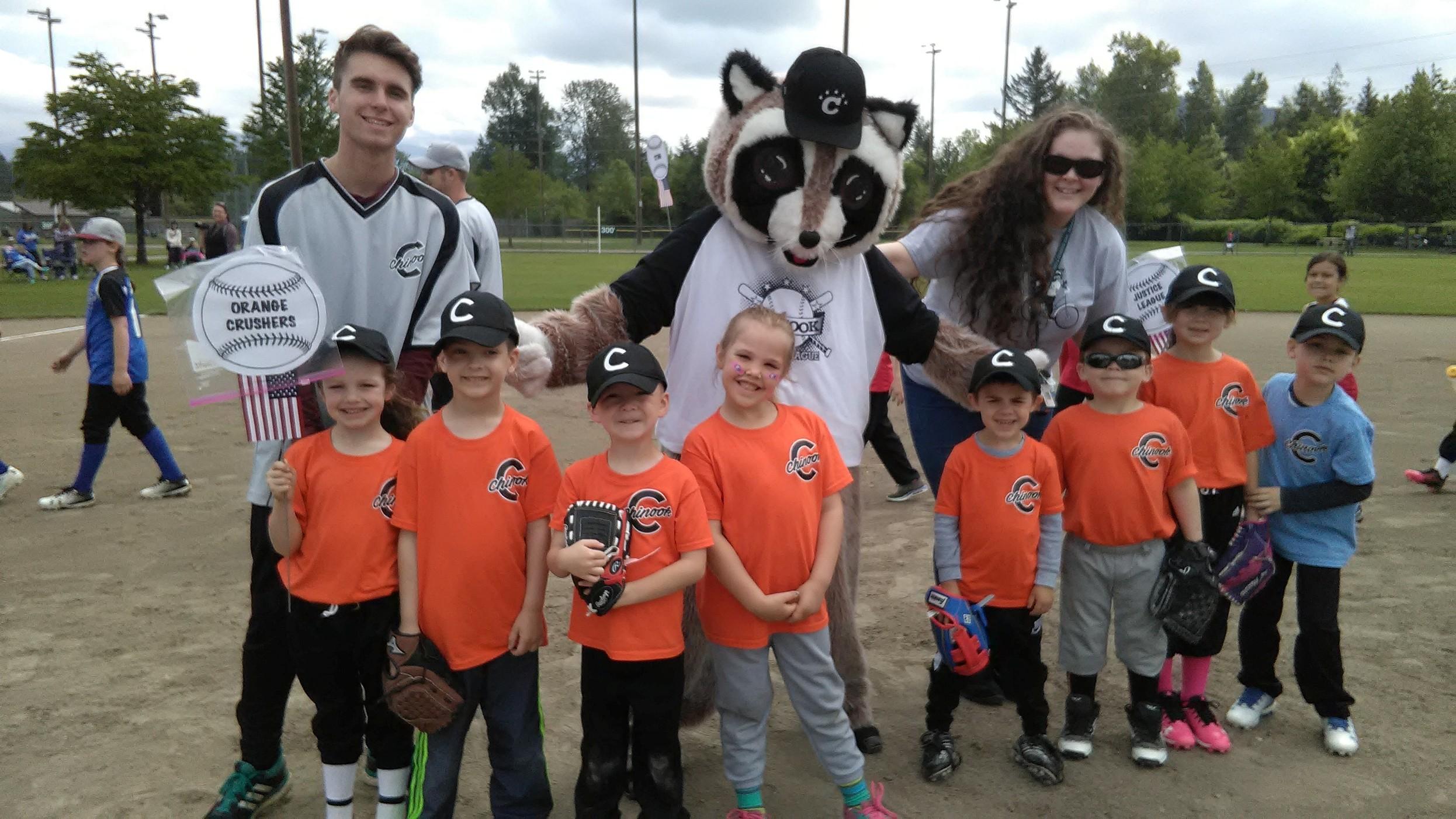 Rocky with baseball kids