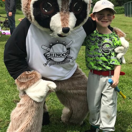 Rocky Raccoon with little boy