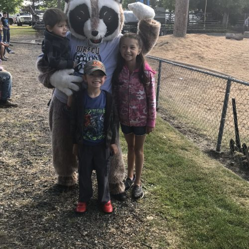 Rocky Raccoon with three kids