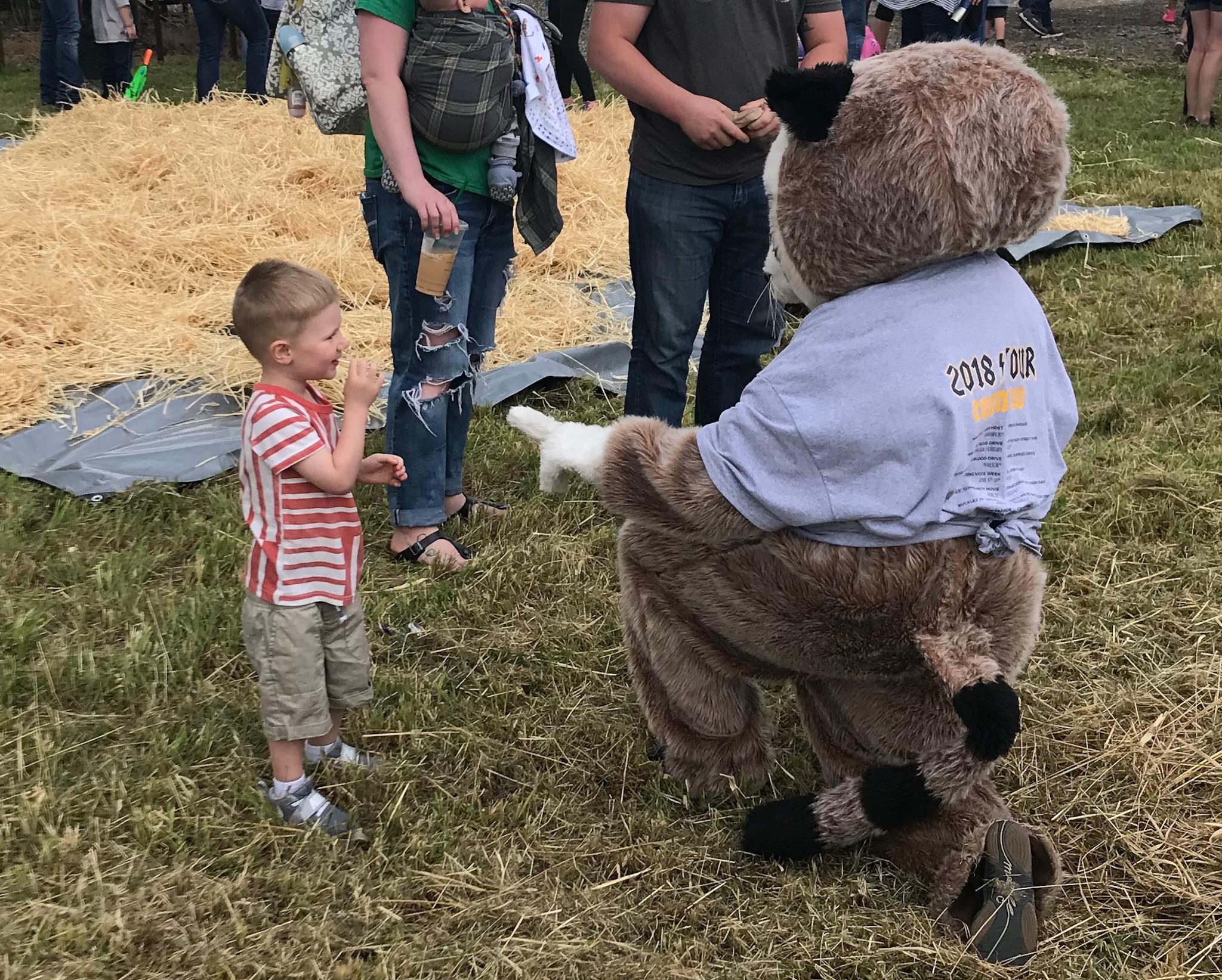 Rocky Raccoon with little boy