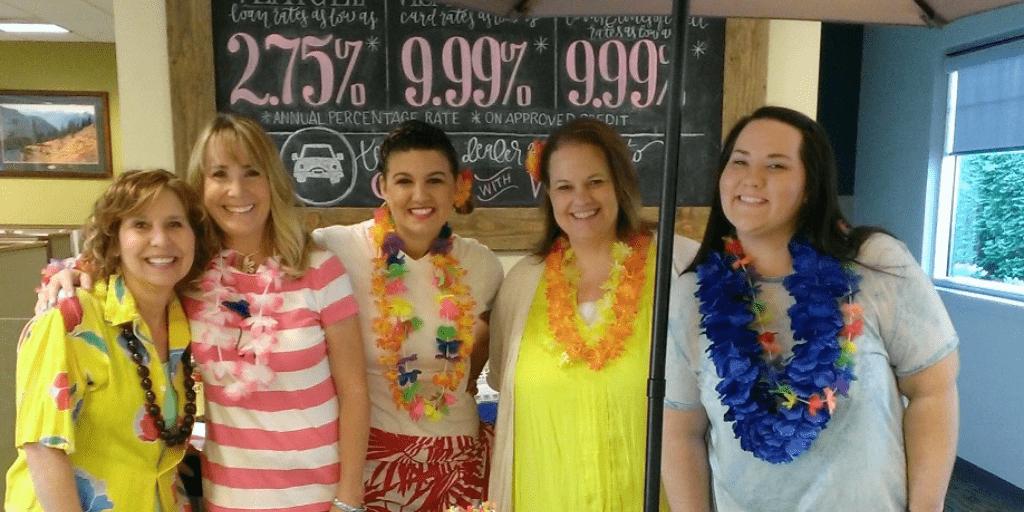 WRCU staff in tropical clothes