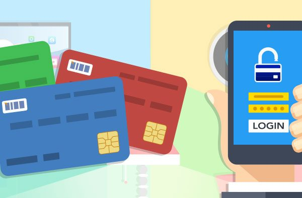Cartoon picture of credit and debit cards and person holding cell phone