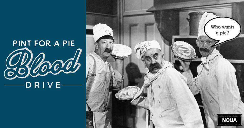 Men holding pies