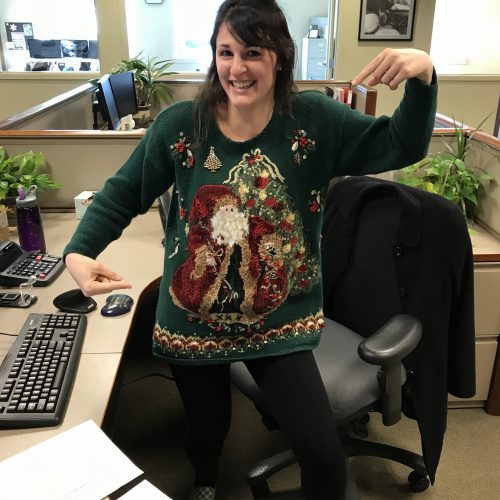 WRCU staff member in ugly sweater