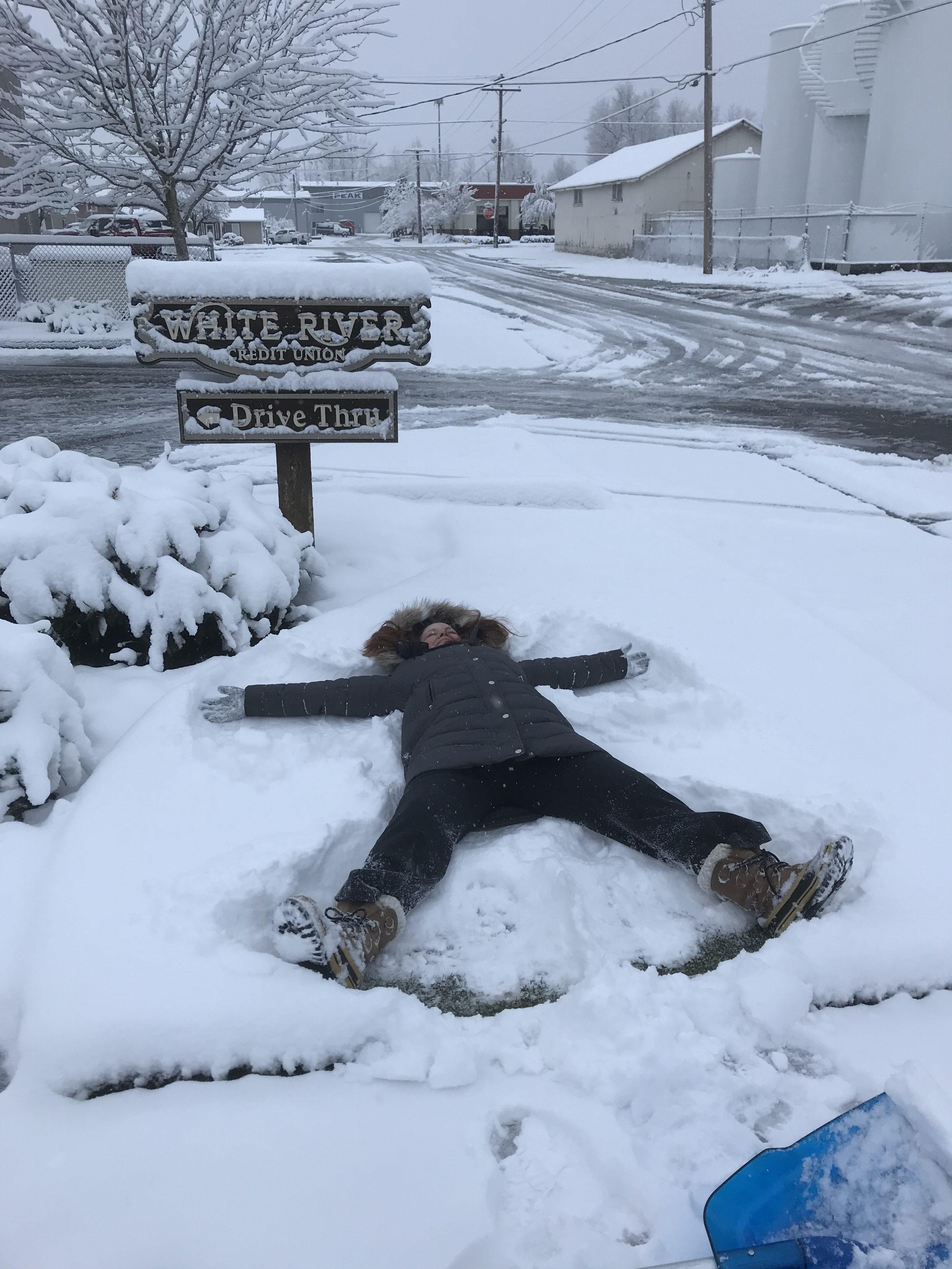 Person doing snow angel