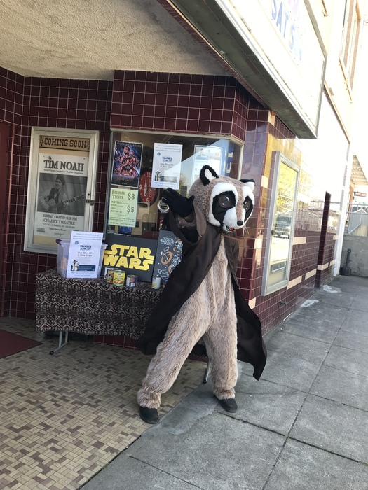 Rocky Raccoon posing in front of the Chalet Theater pointing off into a galaxy far far away