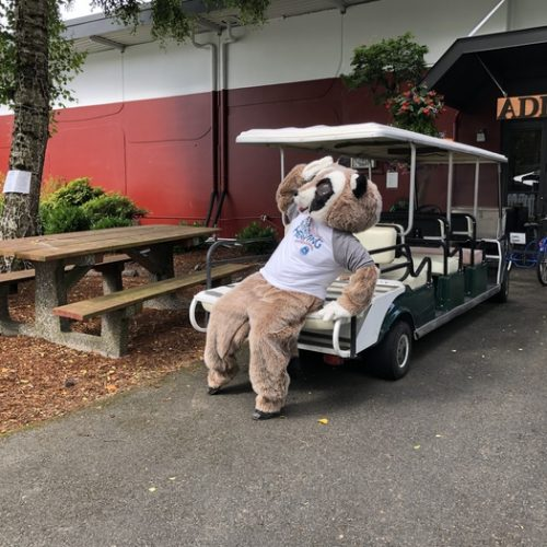 Rocky play fainting on a golf cart from the heat