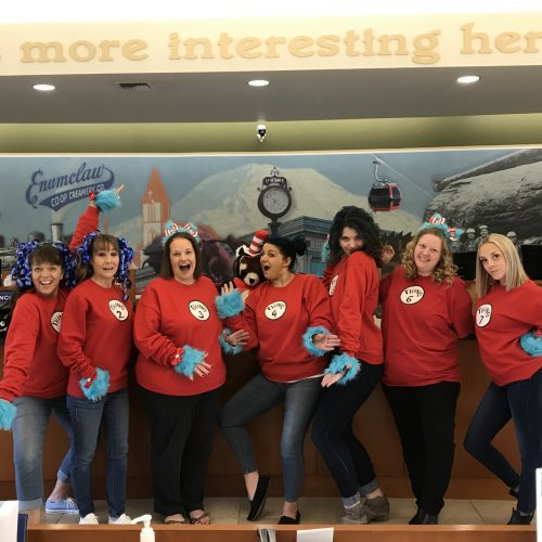 White River Credit Union employees dressed up for Halloween and posing as Thing 1 and Thing 2