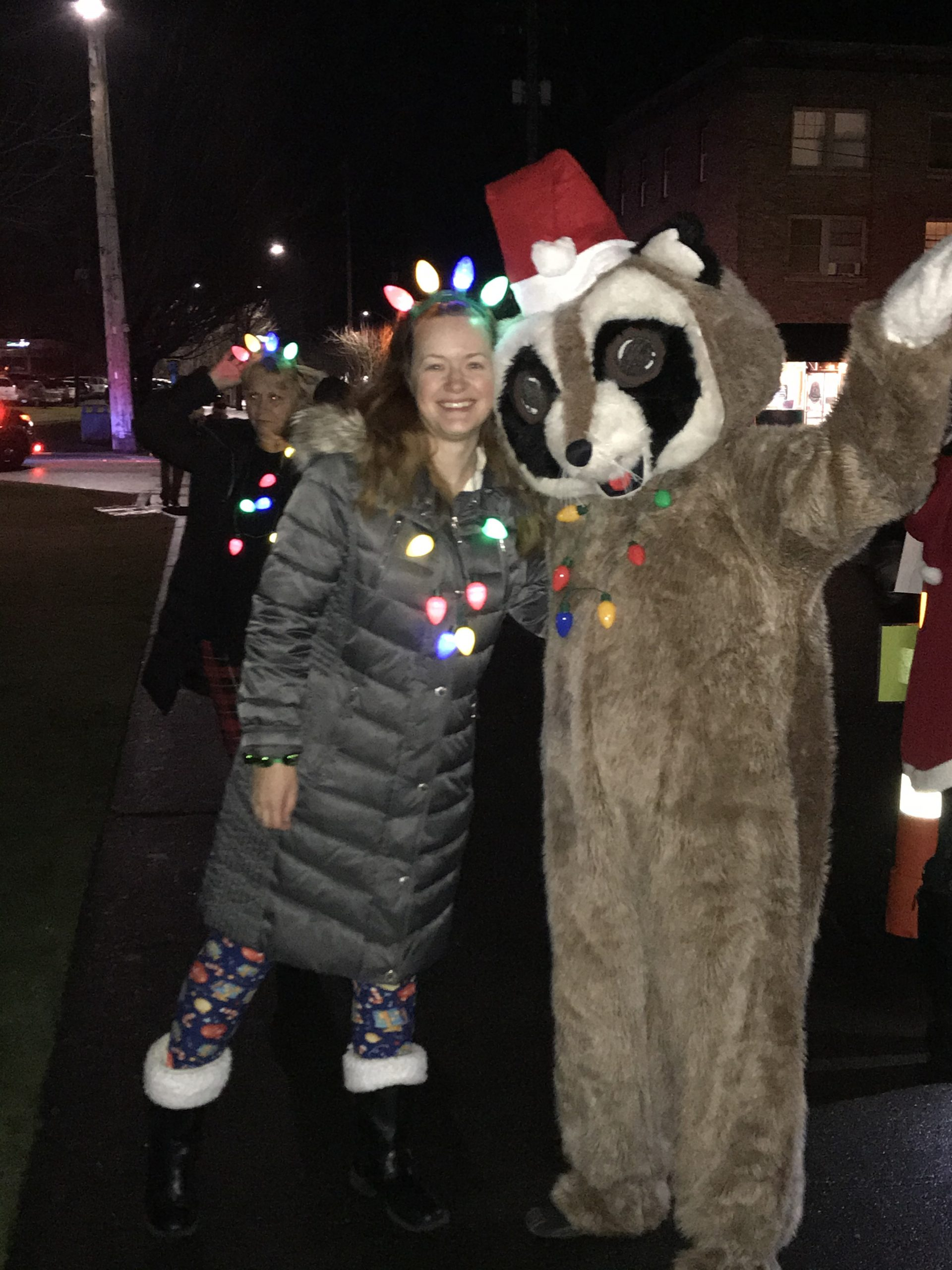 White River Credit Union Employee dressed up at the Enumclaw Christmas Parade with Rocky