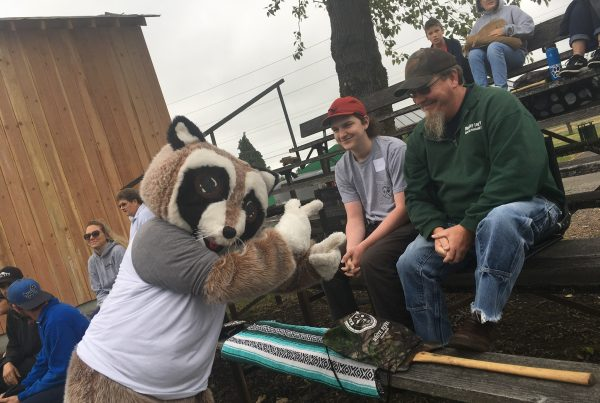 rocky raccoon with kid and adult