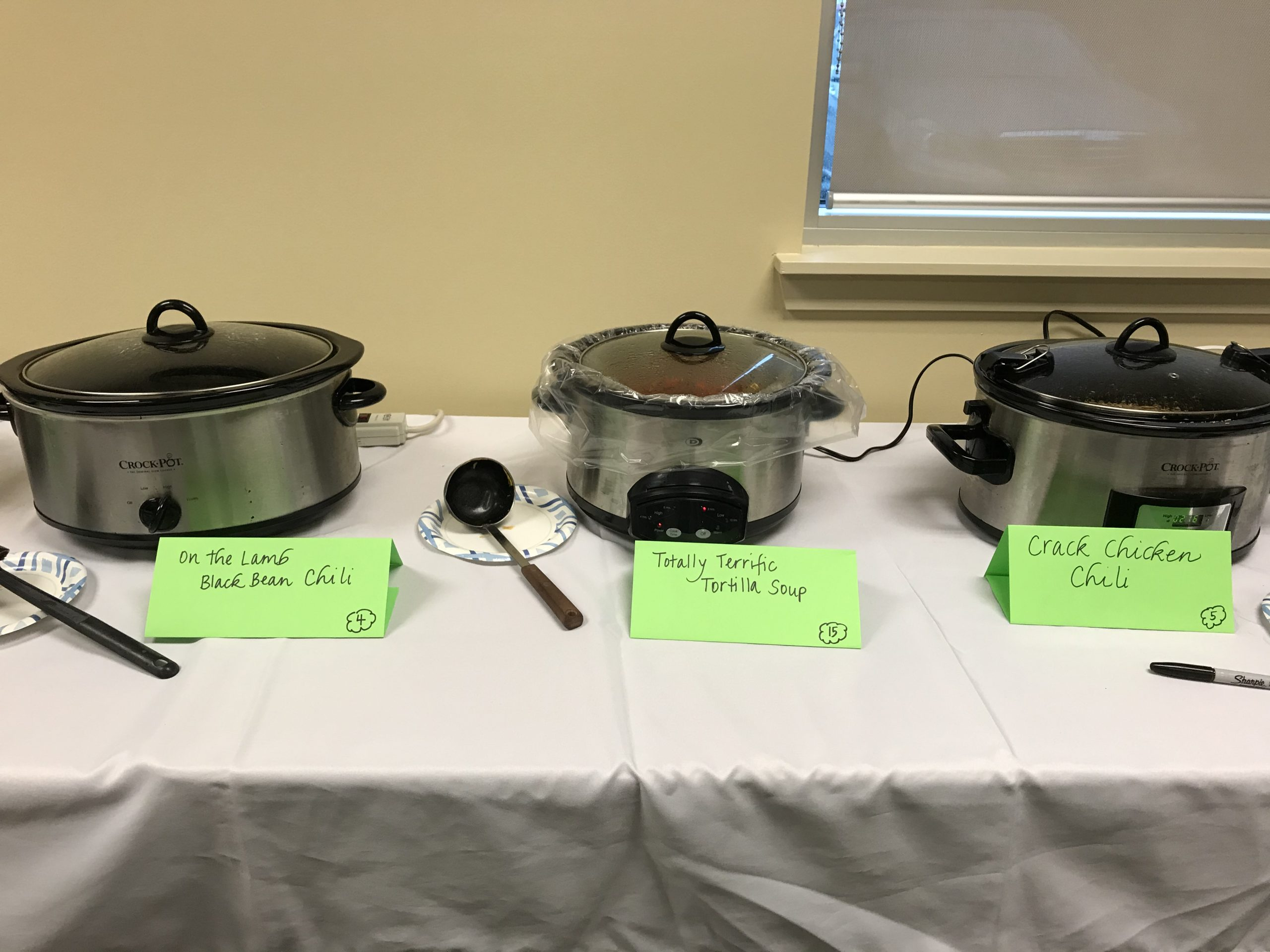 Crock pots of chili