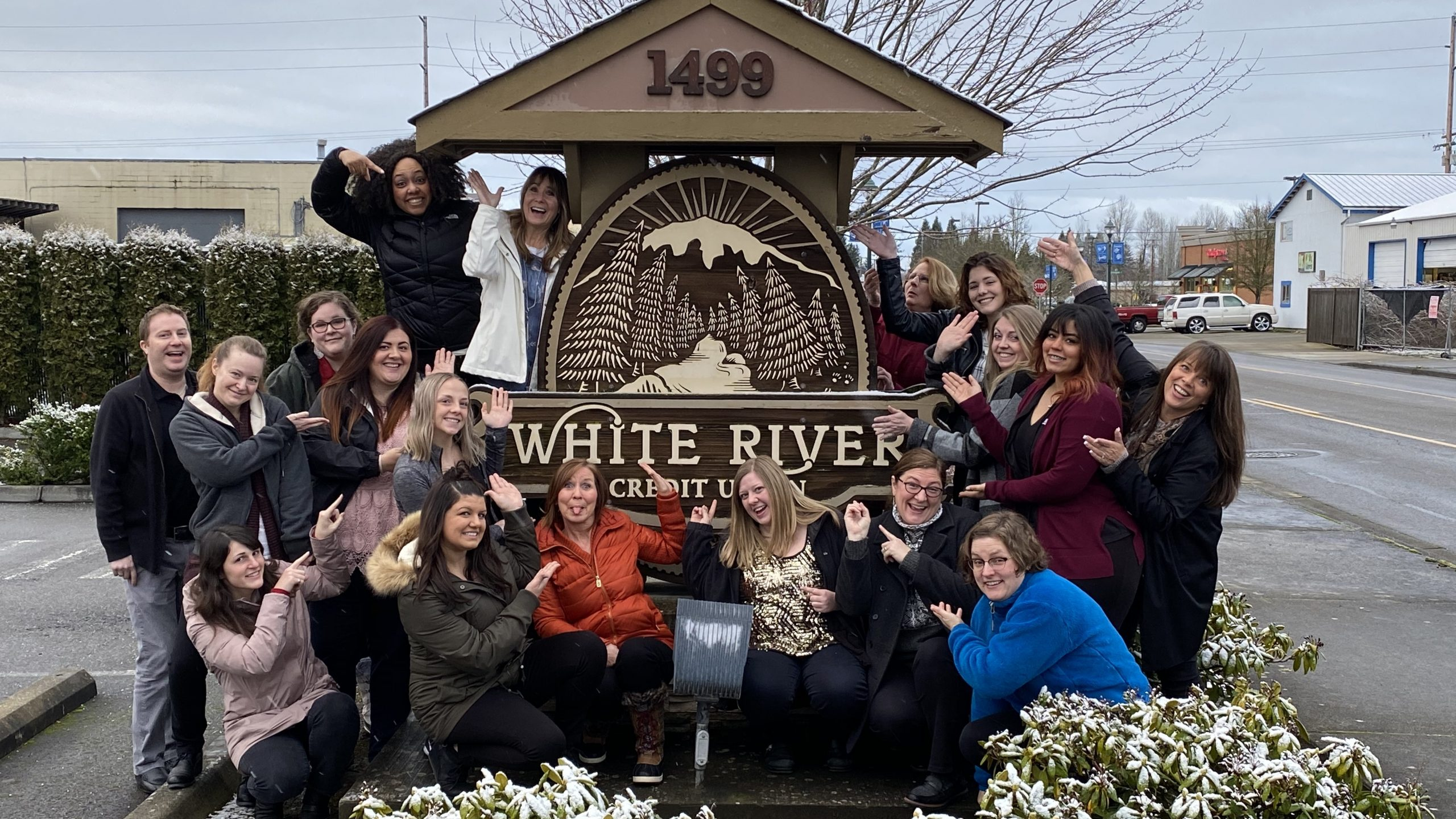 White river credit union employees posing outside