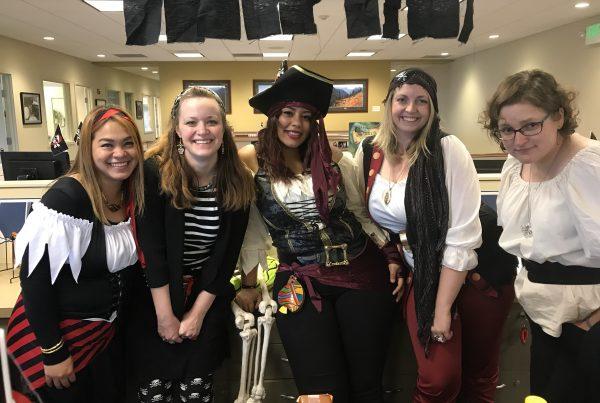 Staff dressed like pirates