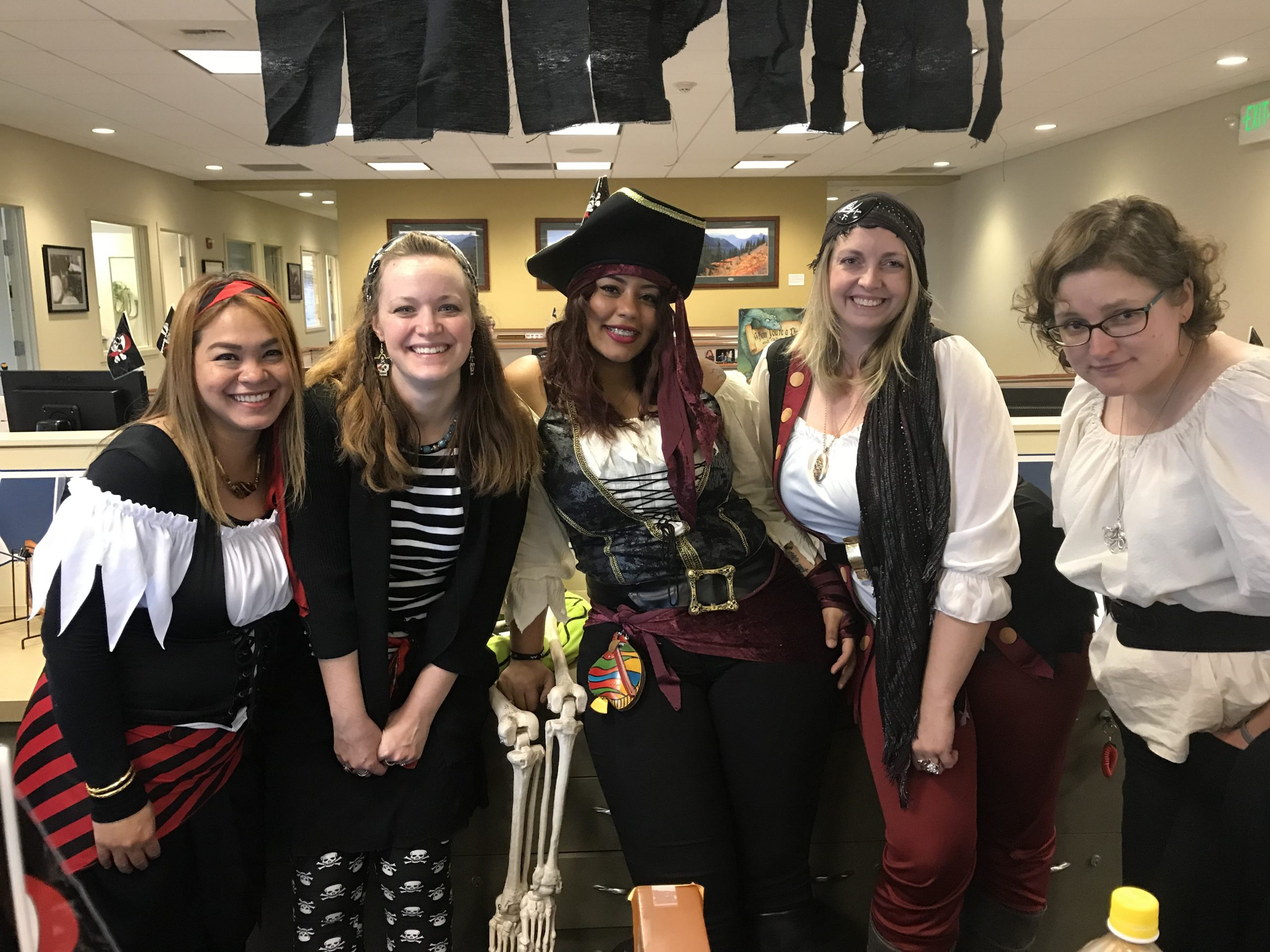Staff dressed like pirates