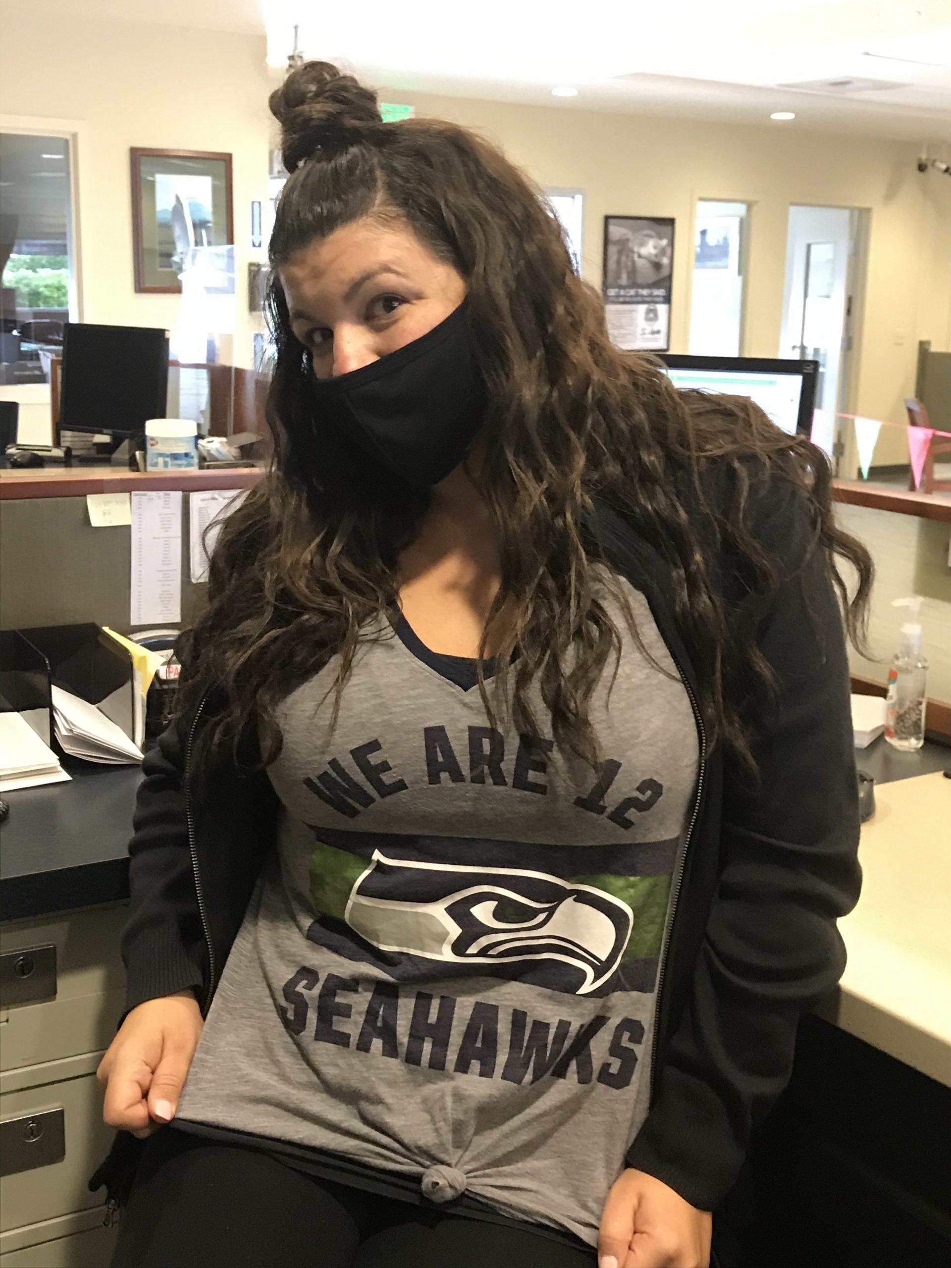 WRCU staff member in Seahawks shirt