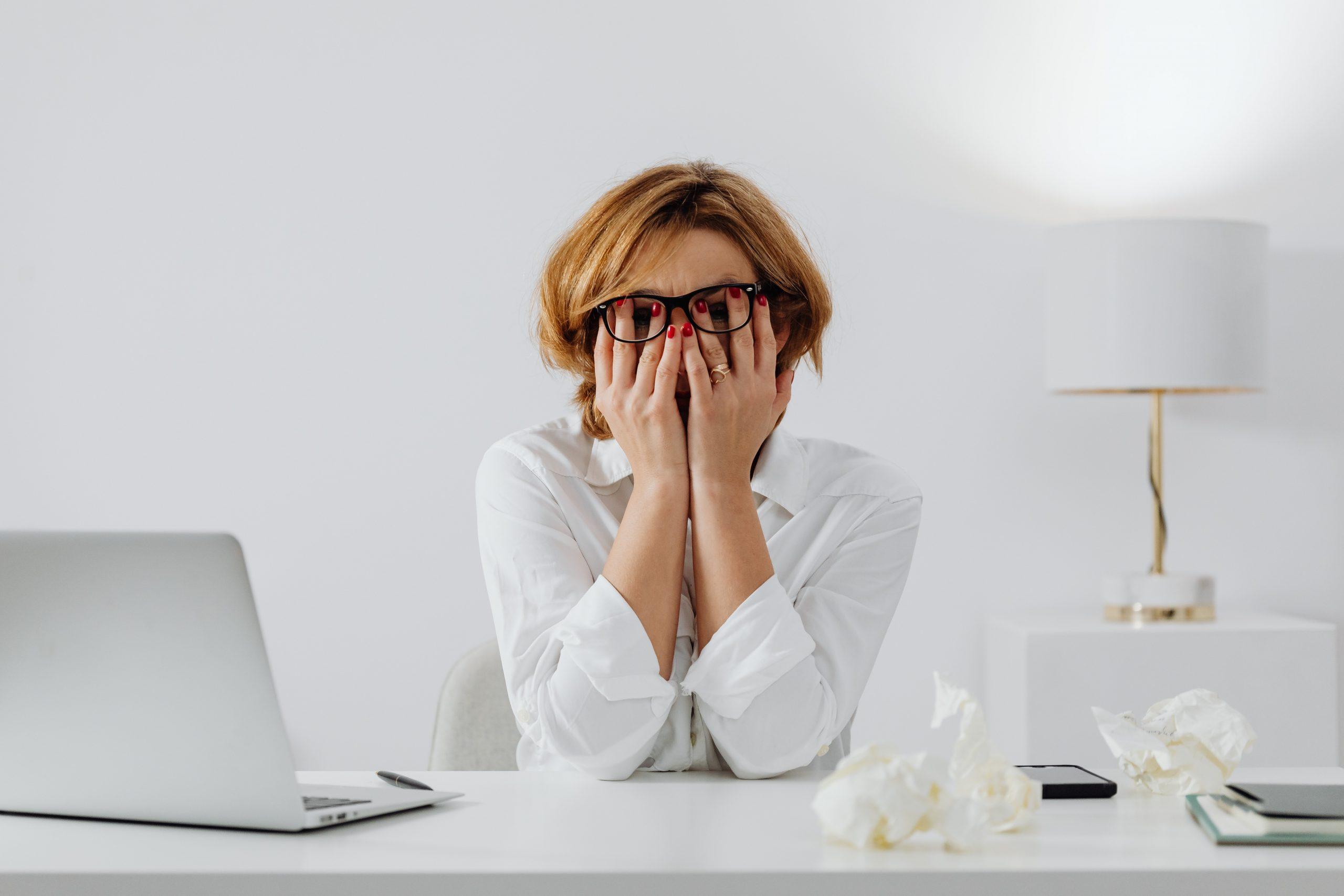 stress, woman, laptop, lamp
